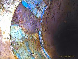 Pipe camera image of poorly joined PVC stormwater pipe